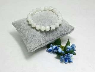 Natural White Moonstone Elastic Bracelet