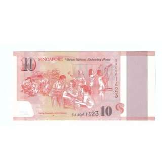 Singapore $10 Commemorative Banknote Polymer UNC 2015 SG50 新加坡纪念钞