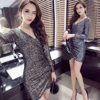 Glitter sexy silver mini dress