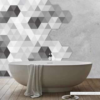 (28 design) 10pcs Floor Stickers Decorative Hexagon European Self Adhesive Tile Art Wall Decal Sticker
