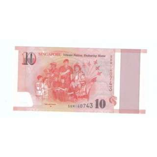 Singapore $10 Commemorative Banknote Polymer UNC 2015 SG50