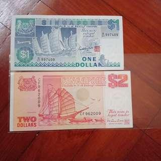 9H9T, boat series $1 & $2 (orange) birthday note 9/6/2009. 1pcs each.