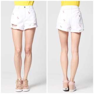 🚚 OshareGirl 05 歐美火鳥紅鶴刺繡白色牛仔短褲