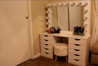 Vanity station ( table, mirror and stool)