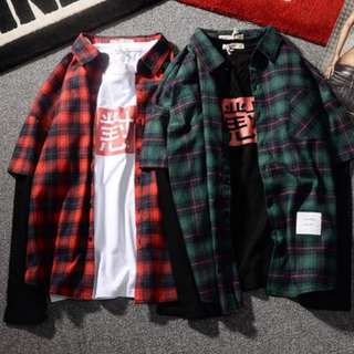 Flannel Plaid Tops Checkered Box Fake Two Piece Hoodie Swag