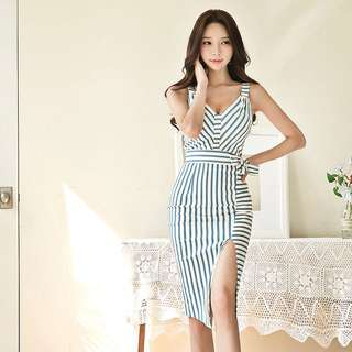 Stripes V Neck Slit Front Bodycon Midi Dress