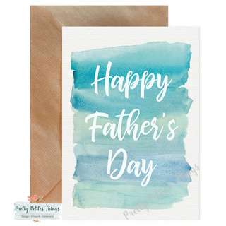 Handcrafted Watercolour Father's Day Card - Happy Father's Day Dad!