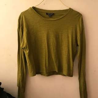 🇬🇧TOPSHOP. Yellow/green ish crop top size 8