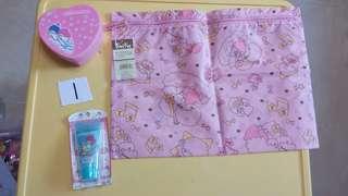 Sanrio twin stars 99至02年 全新 絕版物品 3件 拉鏈袋 禮物盒 cream