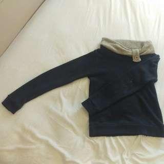 深藍微厚針織上衣。灰色翻領+灰色裝飾鈕扣