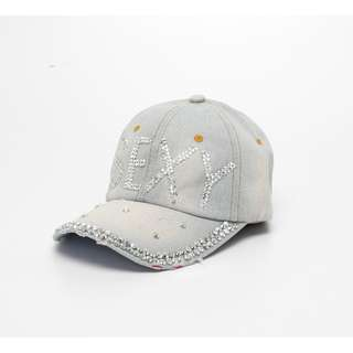 Merciz Women Korean Denim Baseball Snapback Bling Sexy Diamond Hip Hop Vintage Rhinestone Casual Hat Cap