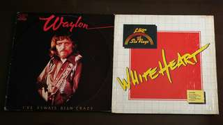 WAYLON JENNINGS ● WHITE HEART i've always been crazy / live at six flags. ( buy 1 get 1 free ) ( moving out sale ) Vinyl record