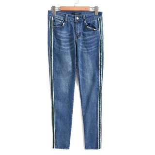 🚚 OshareGirl 05 歐美女士藍綠相間側條紋撞色拼接牛仔褲