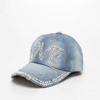 Merciz Women Korean Denim Baseball Snapback Bling Love Diamond Hip Hop Vintage Rhinestone Casual Hat Cap