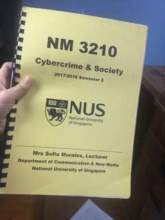 NUS NM3210 Cybercrime & Society notes