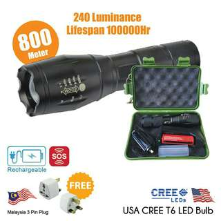 USA CREE T6 LED Torch 02 Rechargeable Flashlight 5 Mode