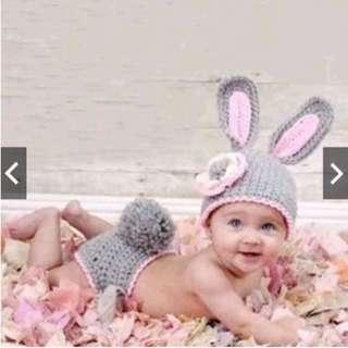 (Instocks) Baby Newborn Boys Girls Crochet Knit Costume Bunny Prop Hat Outfit