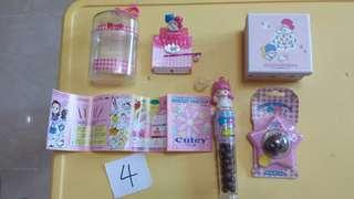 Sanrio twin stars 98年 絕版 物品 4件 全新  髮夾連盒 朱古力玩具 糖果玩具 小禮物盒
