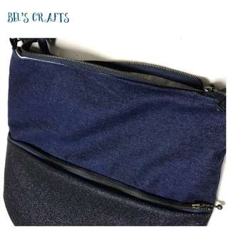 Glittery blue denim sling bag