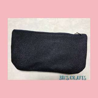 Glittery blue denim make up pouch