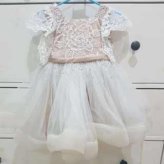 CUSTOM LACE GOWN with crystals and beadwork for 1yo