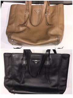 Color Change Beautifully Done On Prada Bag Covering All Deep Stains & Discolorations  !!!