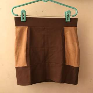 H&M brown skirt with suede on the side size 12
