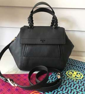 Tory Burch Half-Moon Pebbled Leather Satchel (Authentic)