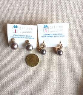Synthetic Grey Pearl Earrings