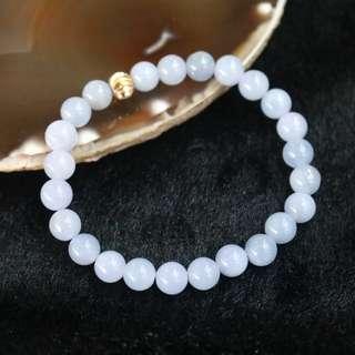 Type A Burmese Jade Jadeite Lavender Beads Bracelet - 17.98g 7.5mm/bead 24 beads