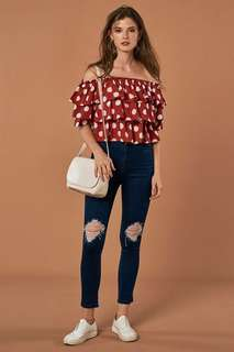 FREE NM // tcl rayna layered top in polka dots