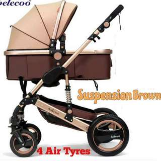 Belecoo Brown Gold Frame With Suspension Stroller