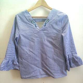 Stripes Blouse Seahorse Embroidery