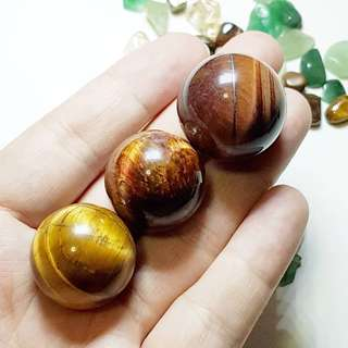 Triplet Set - Yellow Tiger Eye Ball Sphere for Good Luck 黄虎眼球 好运 水晶