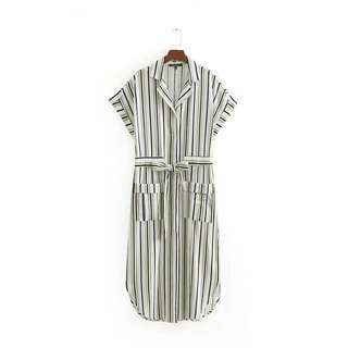 🔥Europe 2018 Stripe Lapel Short Sleeve Long Dress