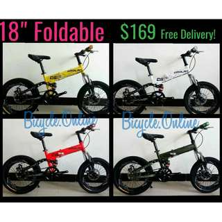 "18"" CROLAN Foldable Bikes ✩ next working day self collect  @348 Bedok or free delivery upon full payment and orders confirmed *Brand new bicycles"