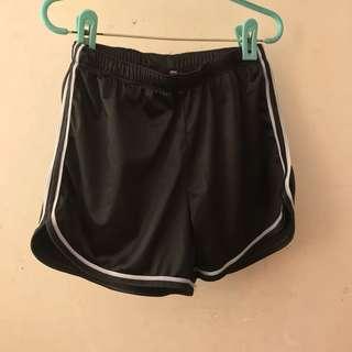Black satin thick high waisted shorts