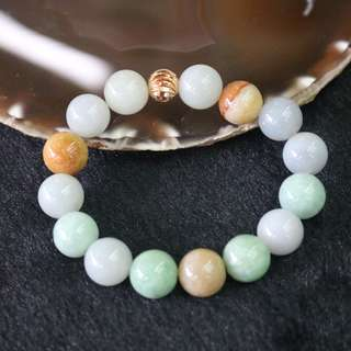 Type A Burmese Jade Jadeite Mixed Colours Beads Bracelet - 65.11g 13.5mm/bead 15 beads
