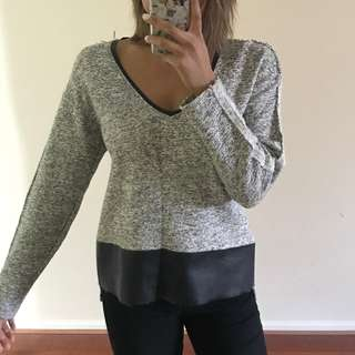 Zara knit jumper with faux leather detail