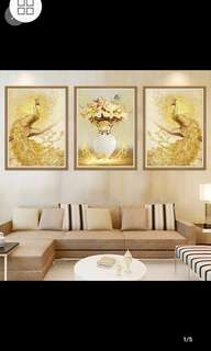 ✔Instock European living room decorative wall stickers triptych sofa background wall paintings American Jane European porch bedroom Phoenix Peacock/Home decor ⏹Size W45*H60*3pcs