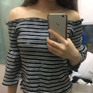 Women's Black x White Off Shoulder top