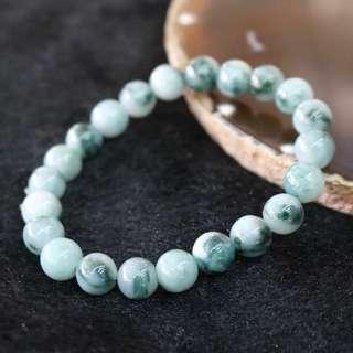 Type A Burmese Jade Jadeite Piao Hua Beads Bracelet - 23.9g 8.6mm/bead 22 beads