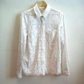 H&M White Lace Shirt  #nogstday