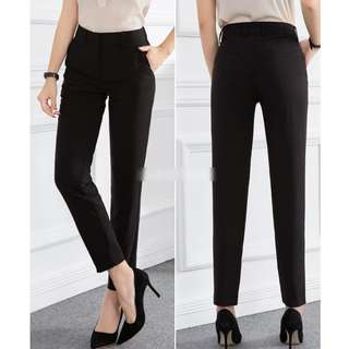 Women's Office Lady OL Slim Fit Ankle Black Pants (Ankle Length Cut/Anti-Wrinkle Cotton)