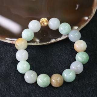 Type A Burmese Jade Jadeite Mixed Colours Beads Bracelet - 64.18g 13.3mm/bead 15 beads