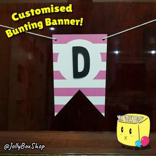 Customizable Bunting Banner For Sale - Pink Stripe with Letter Theme
