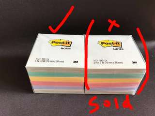 Brand new 3M pastel colours Post-it notes/ post stick notes