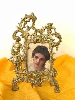 Antique photo frame victorian bronze frame.