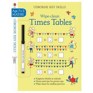 (Brand New) Wipe-Clean Times Tables (7-8 Key Skills)    By: Holly Bathie, Elisa Paganelli (Illustrator) Paperback     For Ages: 7+ years old
