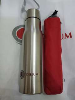 (2in1)500ml stainless steel bottle & mini Maroon umbrella.